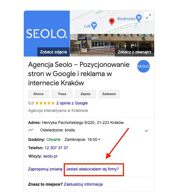 wizytowka google prawo do wlasnosci