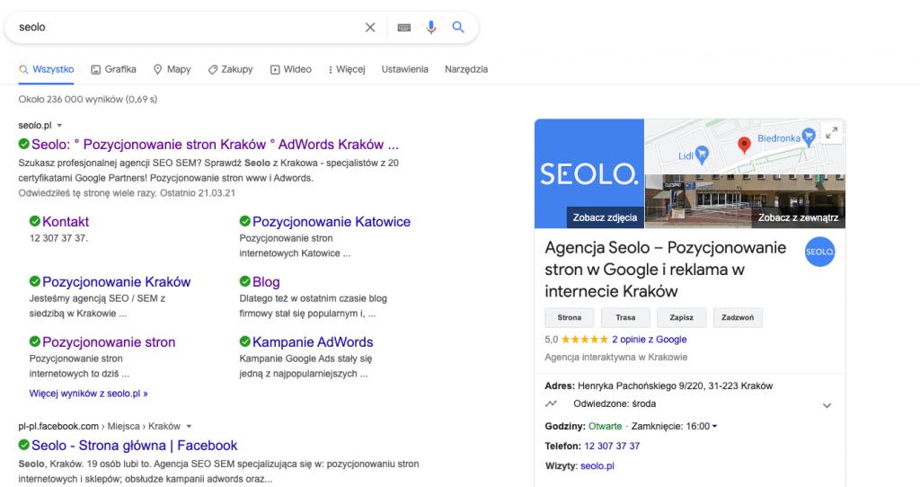 wizytowka w google